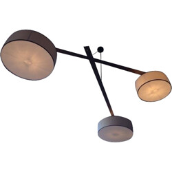 Hanging lamp in wenge composed of 3 lampshades - 2000s