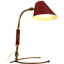 Brass and red desk lamp  - 1950s
