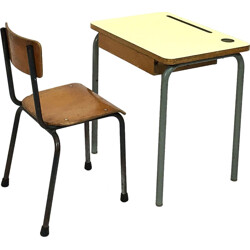 Set of yellow formica desk with its chair - 1960s