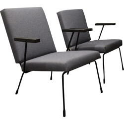 """Set of two Gispen """"415 1401"""" industrial lounge chairs, Wim RIETVELD - 1950s"""