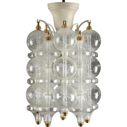 Hanging lamp in white lacquered iron and glass - 1960s