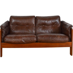 Danish two seater brown leather sofa - 1980s