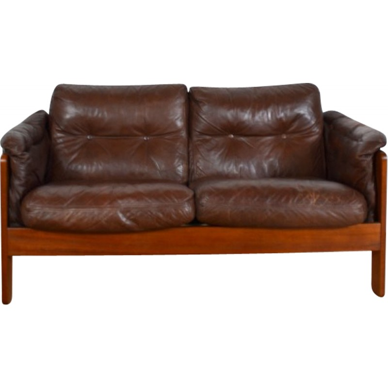 Danish Two Seater Brown Leather Sofa 1980s
