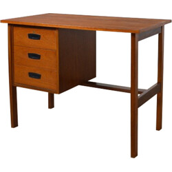 Scandinavian desk with three drawers in brown teak - 1960s