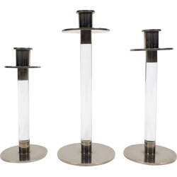 Set of 3 lucite and steel candle holders - 1970s