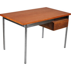 Knoll International wood and chromed metal desk, Florence KNOLL - 1960s