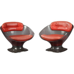 Pair of armchairs in plexiglass and red leather, Raphael RAFFEL - 1960s