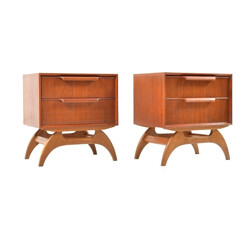 Pair of Danish bedside tables in teak and oak - 1950s