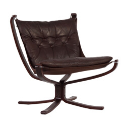 "Vatne Mobler ""Falcon Chair"" in brown leather, Sigurd RESSEL - 1970s"
