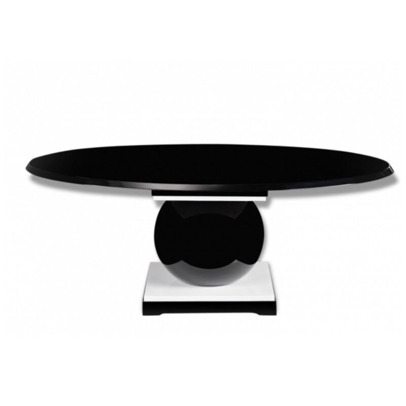 Black lacquered wood and resine table, Jacques-Henri LARTIGUE - 1980s  ESTAMPILLE DIMENSION