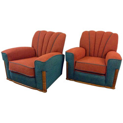 Pair of walnut and green tweed armchairs - 1930s
