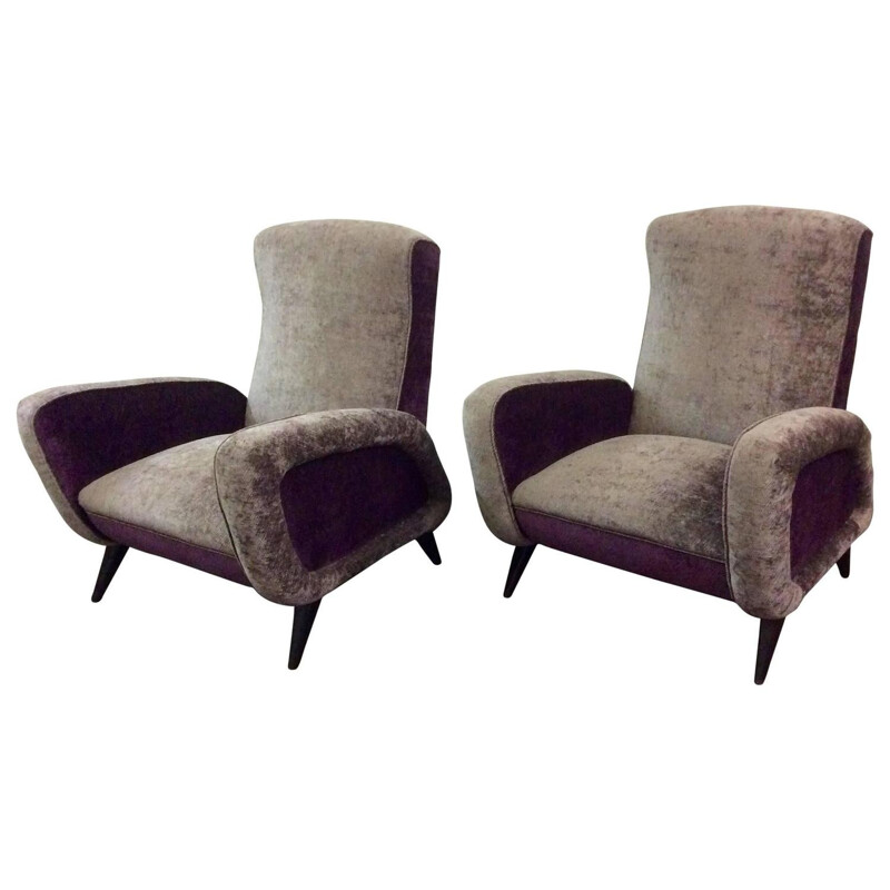 Pair of purple Italian velvet armchairs - 1960s