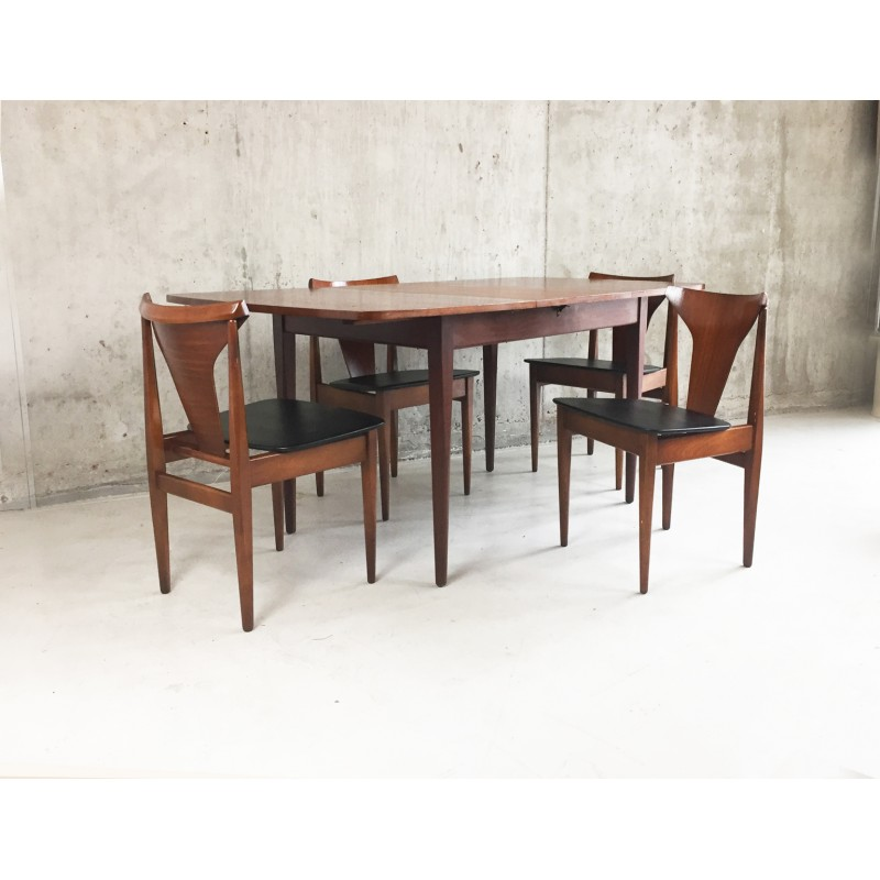Astounding Mid Century Danish Extendable Teak Dining Table With 4 Chairs 1970S Cjindustries Chair Design For Home Cjindustriesco