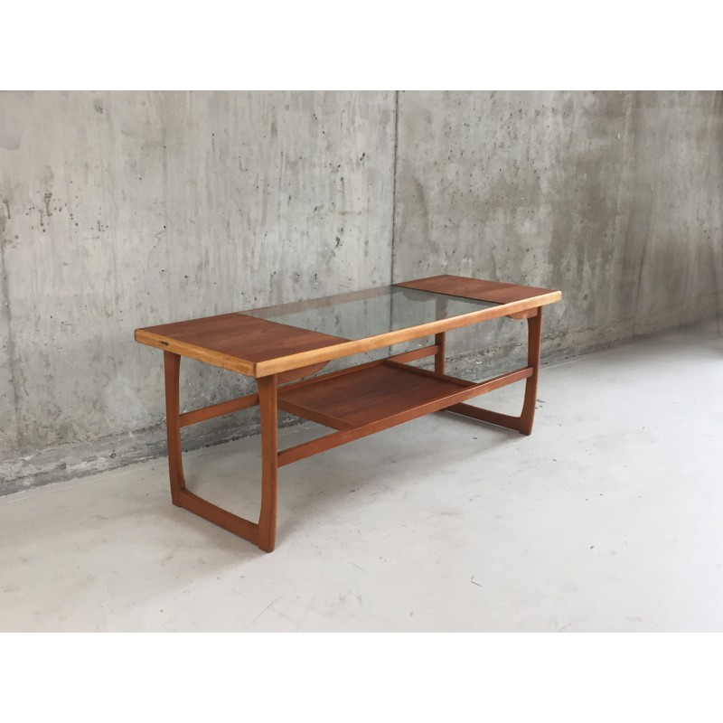Mid Century 2 Level Coffee Table With Gl Panel 1970s Design Market