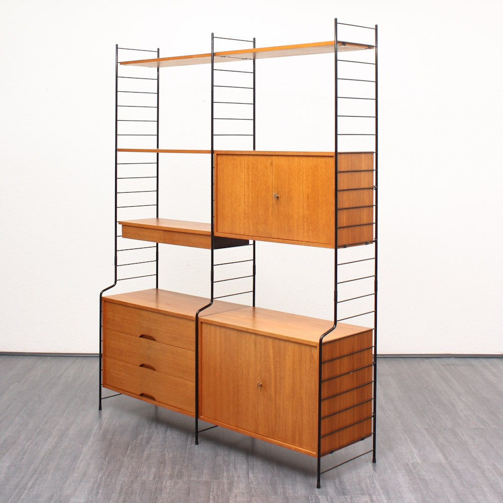 Whb Teak Shelving Unit With Three Containers 1960s Design Market # Meuble Container