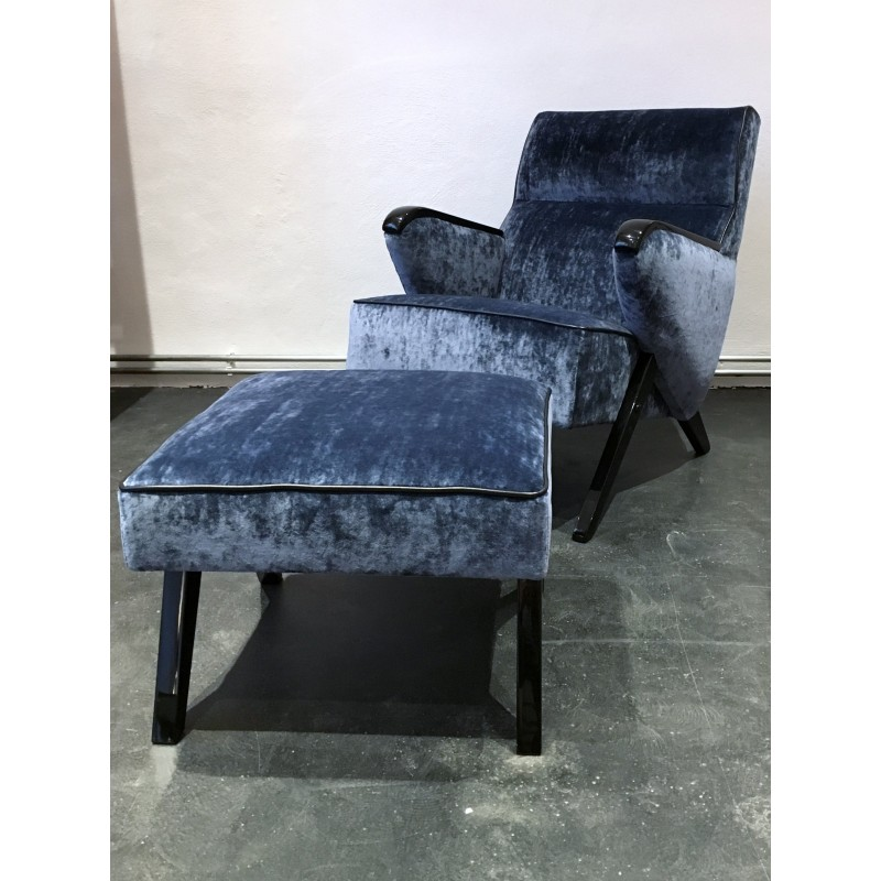 Surprising Mid Century Blue Lounge Chair And Ottoman In Velvet And Wood 1950S Gmtry Best Dining Table And Chair Ideas Images Gmtryco