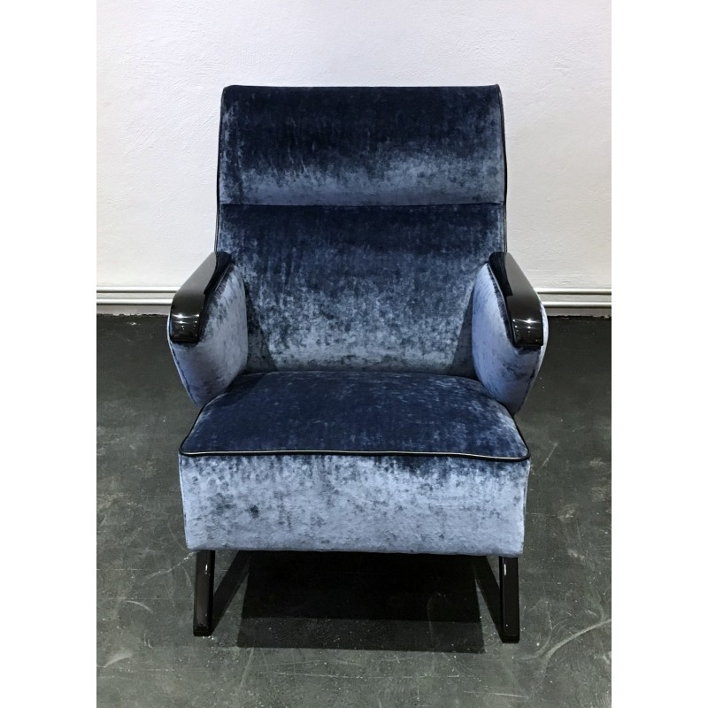 Fabulous Mid Century Blue Lounge Chair And Ottoman In Velvet And Wood 1950S Machost Co Dining Chair Design Ideas Machostcouk