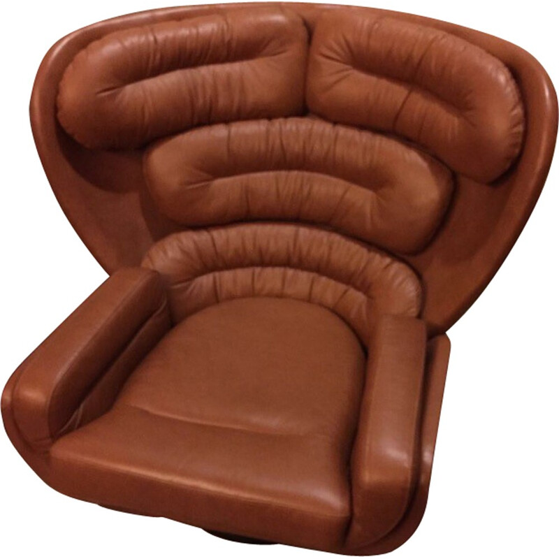 "Comfort ""Elda"" brown leather and glass fibre armchair, Joe COLOMBO - 1960s"