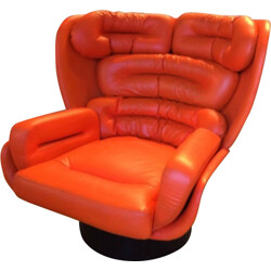 "Comfort ""Elda"" orange leather and fiberglass armchair, Joe COLOMBO - 1960s"