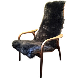 "Swedese ""Lamino""  armchair with sheepskin coating, Yngve EKSTROM - 1950s"