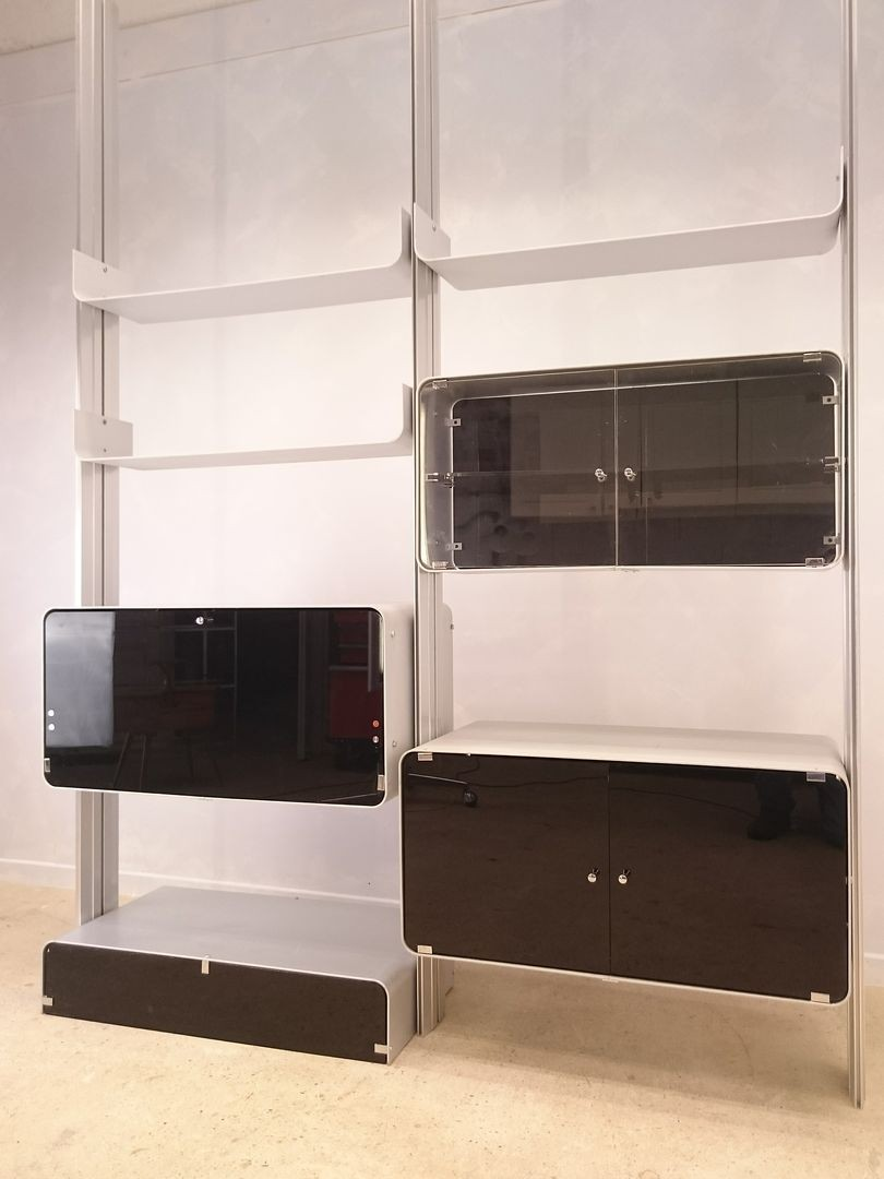 Adjustable Shelf System In Aluminium And Plexiglass 1970s  # Etagere Vintage Plexiglas