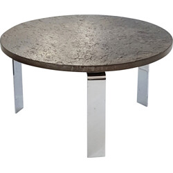 "Draenert ""1065"" round grey schist and steel coffee table, Peter DRAENERT - 1960s"