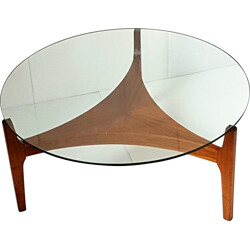 Christian Linnenberg Mobelfabrik rosewood and glass scandinavian coffee table, Sven ELLEKAER - 1960s