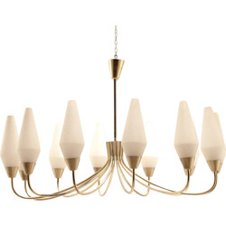 Chandelier in brass and opaline - 1950s