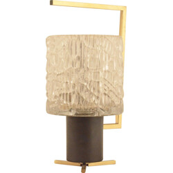 Mid-century small table lamp in metal brass and glass - 1950s