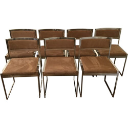 Set of 7 brown double frame dining chairs, Willy RIZZO - 1970s