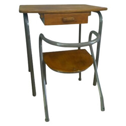 """School """"MCA"""" set with desk and its chair, Jacques HITIER - 1950s"""