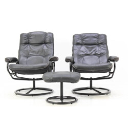 Scandinavian Leather Armchairs and ottoman - 1980s