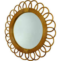 Brown rattan and glass wall mirror - 1950s
