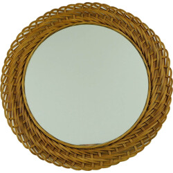 Beige rattan and glass wall mirror - 1960s