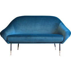 Italian two-seater sofa in dark blue velvet - 1950s