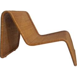 "Bonacina Pierantonio ""P3"" low chair in wicker, Tito AGNOLI - 1960s"