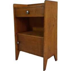 Bedside table with compass feet in solid oak - 1950s