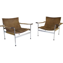 """Tecta """"D99"""" pair of lounge chairs in light brown suede and chromed steel, Hans KÖNECKE - 1960s"""