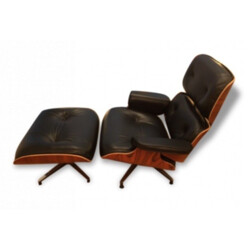 Herman Miller lounge chair in black leather and rosewood, Charles EAMES - 2000s