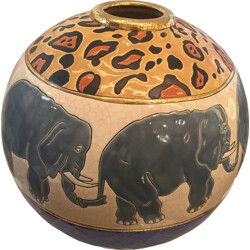 Large elefant patterns ceramic colonial ball in Longwy enamels, Danillo CURRETI - 1980s