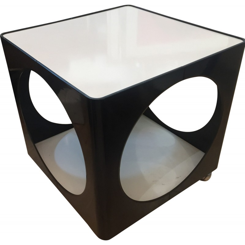 Low Black And White Plastic Table   1960s