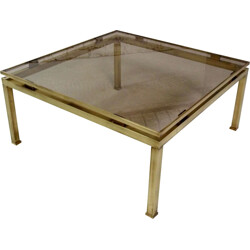 Jansen large squared coffee table in brass, Guy LEFEVRE - 1970s