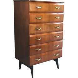 Mid century chest of drawers with brass handles - 1960s