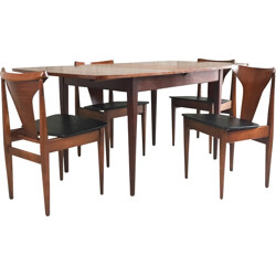 Mid century Danish extendable teak dining table with 4 chairs - 1970s