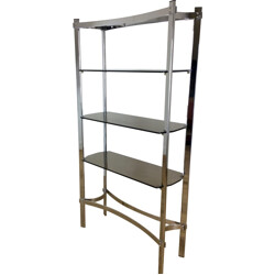 Merrow Associates grey chromium steel and glass shelving unit - 1970s