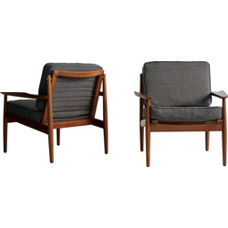 Pair of easy grey chairs Glostrup, Arne VODDER - 1950s