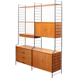 WHB teak shelving unit with three containers - 1960s