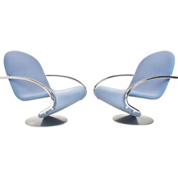 Fritz Hansen pair of two light blue woolen and aluminium easy chairs,  Verner PANTON - 1970s