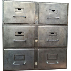 Valrex 2-drawers file cabinet in brushed metal - 1950s