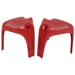 "Set of 2 Casala ""Casalino"" red stools, Alexander BEGGE - 1970s"